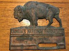 Original Canada's National Parks 1940 Brass Buffalo Radiator Badge
