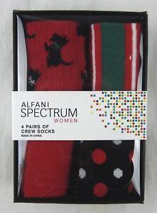 Alfani Spectrum - NWT 4 Pairs of Women's Different Pattern Crew Socks - One Size