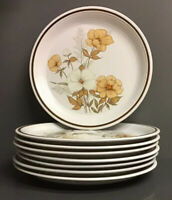 SET OF 8 Vintage Town & Country Stoneware Dinner Plates Mill Run Floral Japan