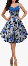143 BLUE FLORAL CLASSIC VINTAGE FULL CIRCLE ROCKABILLY PROM DRESS SIZE 12 BN