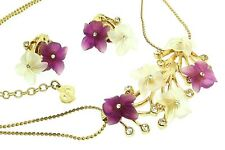 Vtg Germany CHRISTIAN DIOR Lucite Flower Rhinestone Necklace & Earrings Set
