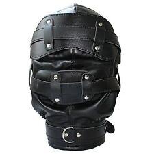 Open Mouth Gag Faux Leather Full Gimp Hood Mask Padded Locking Eyes Blindfold