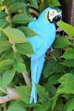Dekofigur Papagei blau Gartenfigur Ara Gartendeko Zaunfigur Wanddeko Vogel