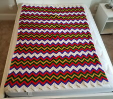 Handmade Crochet Zig-Zag Blanket Afghan Bed Cover Gorgeous Colors Clean