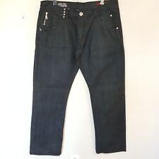 Live Mechanics Mens Straight Leg Jeans Dark Blue Black Denim Red Pocket Size 38