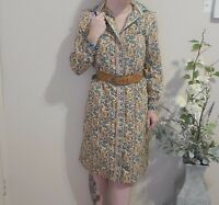 Vintage cream Paisley midi button up shirt dress SIZE S