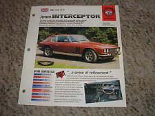 UK 1966-1976 Jensen Interceptor Hot Cars Group 5 # 9 Spec Sheet Brochure