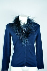 Olsen feine Damen Weste Strickjacke Cardigan  MarabuKragen blau Gr. 34 NEU