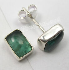 925 Sterling Silver Authentic GREEN APATITE GIRLS' Studs Earrings Pair 0.8 CM