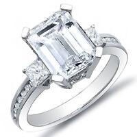 2.45 Ct. Emerald Cut, Princess & Round Cut Diamond Engagement Ring H,SI1 GIA 18K