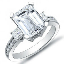 2.40 Ct Emerald Cut w/ Princess & Round Cut Diamond Engagement Ring I,IF GIA 18K