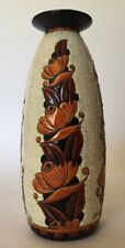 """RARE 12-1/4"""" Charles Catteau Boch Frères Keramis Vase D1065 w/Dramatic flowers"""