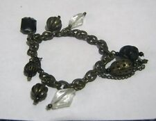 Wonderful bronze tone chain style bracelet with beads and charms approx 6 ins