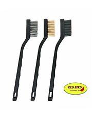3 Piece Set Gun Rifle Pistol Cleaning Brushes Brush Kit Steel Bronze Nylon 7