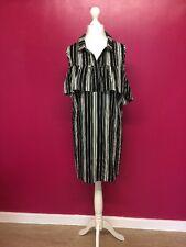NEW BLACK&WHITE STRIPED RUFFLED COLD SHOULDER BOHO DRESS/TUNIC SIZE 16