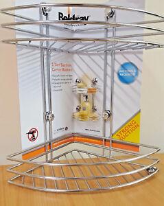 Beldray 2-Tier Corner Suction Shower Basket chrome bathroom storage caddy shelf