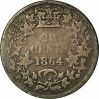 1864 - 20 Cents Silver New Brunswick, Canada Circ  - Low Mintage! -c290dtcd