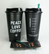 2x Starbucks Peace Love Coffee Black Reusable 16oz Traveler Cup Limited Edition