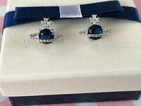 NEW Saturn Orb-Stud Ladies Earrings - Cubic Zirconia - Stunning + Gift Box