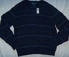 New Mens POLO Ralph Lauren Blue Knit V-Neck Silk Blend Sweater Size L MSRP $265