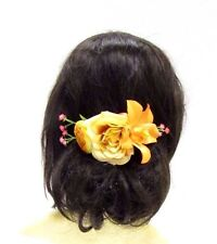 Orange Yellow Coral Pink Orchid Rose Flower Hair Comb Bridesmaid Clip Beach 3030