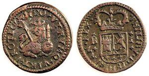 Spain- Felipe V. 1 maravedi. 1720. Barcelona. Cobre 2,1 g. Muy bonita