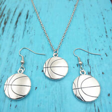 Basketball Necklace earring sports pendants,Silver jewelry sets creative gift