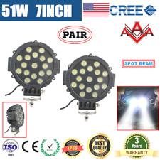2x 7inch 51W CREE LED DRIVING LIGHT OFFROAD SPOTLIGHT WORK LIGHT SUV LAMP 102W