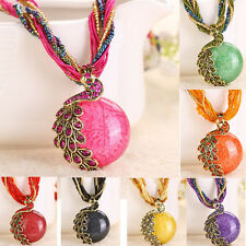 Bohemian Womens Necklace Rhinestone Peacock Gem Pendant Statement Necklace New
