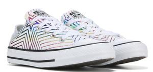 Converse Women's size 7 Chuck Taylor All Star metallic rainbow top white sneaker