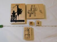 Lot of Misc Wood Mount Stamp Set includes 5 rubber stamps Fishing pre-owned