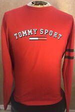 Vintage Tommy Sport L/S T-Shirt Hilfiger Jeans Flag Spellout Men's Size XL Red
