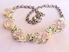 Cute vintage 1950's pink plastic FLOWER link choker necklace AB Rhinestone Pearl
