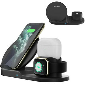 3in1 Qi Wireless Charger Fast Charging Dock Stand Fit For Apple Watch iPhone Xs