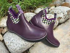 New BOGS Women's Rain Ankle Slip-On Boot, sz.6 - purple + dot pattern