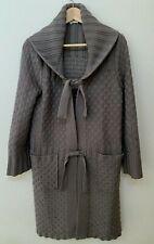 Sonia Rykiel Cardigan Sweater Wool Tie Front Khaki Green FR 36 US 2 4 6 Oversize