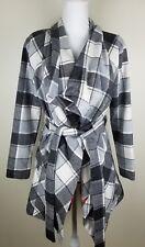 Matilda Jane Women's Check It Twice Jacket Plaid Size XS Make Believe Grey White