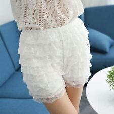 Women Bloomer Safety Pants Stretch Pumpkin Bubble Lace Layered Short Underpants