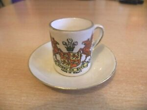 MINI MINIATURE old vintage bone CARLTON CRESTED china ARMS OF WALES CUP & SAUCER