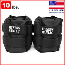 Fitness Maniac 10 lb Ankle Weights Pair Running Wrist Adjustable Strap Black