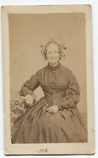 ANTIQUE CDV OLD WOMAN WITH BUSY BONNET. NEW ORLEANS, LOUISIANA.