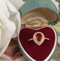 Art Deco Vintage Jewellery Gold Ring with Ruby White Sapphires Antique Jewelry