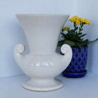 McCoy Pottery Lug Handled Urn 8 Inches Ivory Gloss Strongman Mid Century Modern