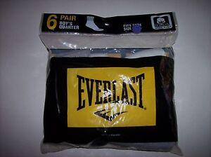 Everlast Socks Boys Quarter Select Size 3-9 9-2.5 Six Pair Per Pack Assorted NIP