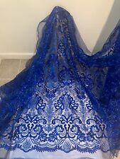 """ROYAL STRETCH MESH W/ SEQUINS EMBROIDERY LACE FABRIC 52"""" WIDE 1 YARD"""