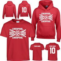 HOODIE LIVERPOOL Kids Children Boys Football T Shirt FREE name Personalised  wbf