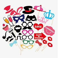 31pcs Pack Wedding Photo Booth Props Decoration Party Supplies Masks Mustache