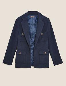M & S Navy Blue Boucle Designer Inspired Edge to Edge Jacket Size 14 NWT RRP £79