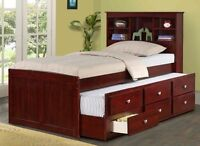 Twin or Full Captain's Bed with Trundle, Storage Drawers, & Bookcase Headboard!