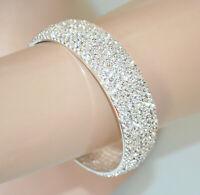 BRACCIALE STRASS donna rigido argento platino cristalli elegante cerimonia BB53
